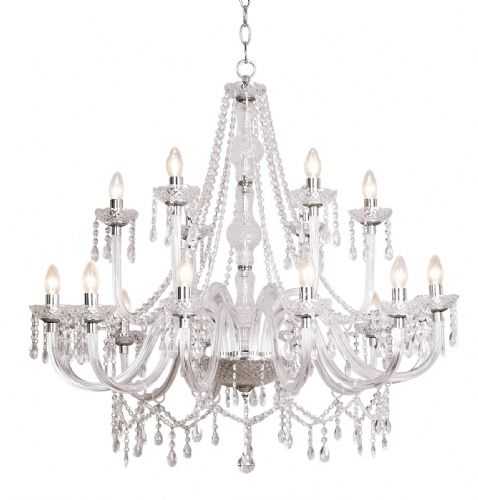 Katie 18-light Acrylic Crystal Chandelier Ceiling Light (826278) (Double Insulated) BXKAT1850-17